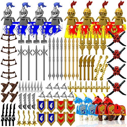 Minifigures Weapon Pack Accessories Kit Knight Weapons Set Including Armor Helmet Shield Barding Horses Designed for Minifigures Compatible with Minifigures of All Major Brands (Medieval Weapon)