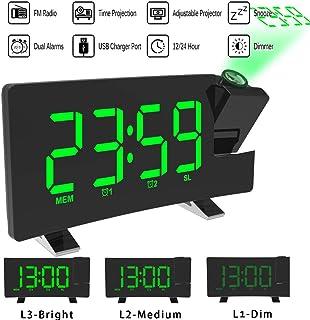 comprar comparacion ALLOMN Reloj Despertador de Proyección, Reloj Despertador Digital FM Radio con Pantalla Curva/Proyección de Tiempo/Proyect...