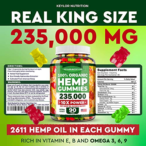 Keylor Nutrition Hemp Oil Gummies - 20,000 MG - Made in USA - Relief for Stress, Inflammation, Sleep, Anxiety, Depression - All-Natural Ingredients - Hemp Gummies with Omega 3-6-9 CO2 Extraction