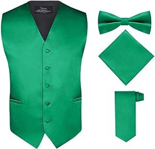 S.H. Churchill & Co. Men's 4 Piece Vest Set, with Bow Tie, Neck Tie & Pocket Hankie