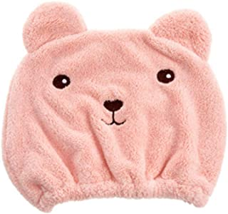 Qiao Home Animal Cartoon Super Dry Hair Cap Quick-Drying Turban Cute Hair Thick Absorbent Adult Shower Cap (Color : Pink)