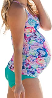 0559127a945e5 Kinglly Pregnant Women Plus Size Color Split Swimsuit Print High Waist  Bikini