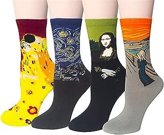 Pack de 4 Mujer Calcetines Ocasionales Divertidos Impresos de Algodón de Pintura Famosa de Arte Calcetines