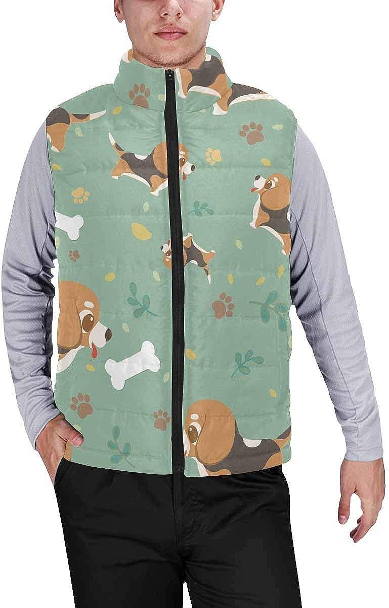 InterestPrint Men's Full-Zip Padded Vest Jacket for Outdoor Activities Cute Bread and Jam