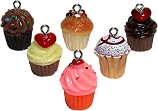 Lucore Mini Cupcake Pendant Charms - 6 PC Set of Cute Miniature Bead Style Cake Ornaments, Craft and Jewelry DIY Supply