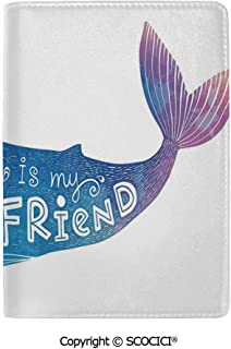 SCOCICI Leather Passport Cover Luxury King of Ocean is My Best Friend in Watercolor Abstract Style Quote on Whale Print Protector Case Holder