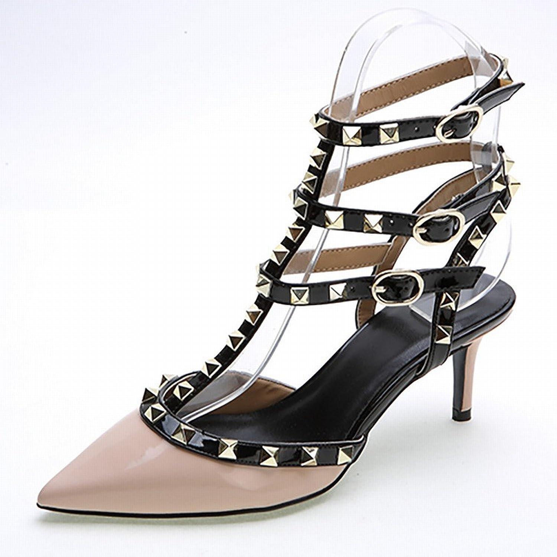 SED Woherren Schuhe, Western Spitz Feste Farbe 3 3 mit Einem Niet Lackleder Schuhe, Damenmode Hochhackigen Schuhen  offizielle Website