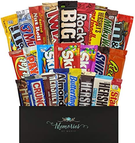 24 CT Unique Full Size Candy Bars and Candies in Black Box Care Package for College Students product image