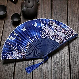 Christoopher - Ventiladores de Seda Plegables para Mujer con Marco de bambú