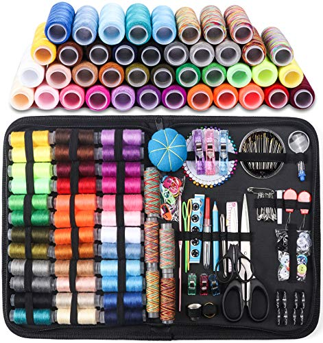 Sewing Kits Set Suitable for Traveller Sewing Kit,200 Pcs DIY Premium Sewing Supplies Black Professional Sewing Accessories Kids Home Emergency Beginner