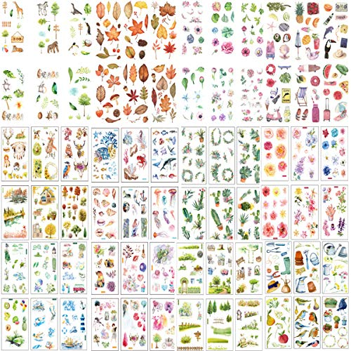 72 Blatt Scrapbooking Aufkleber Sticker Blätter Blumen Tiere Stickerbögen aufkleber Sticker für Scrapbooking Fotoalbum Kalender Bullet Journal Tagebuch Notizbuch DIY Deko Stickerbuch Stickeralbum
