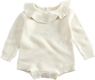 Baby Girls Long Sleeve Doll Collar Knitted Sweater Rompers Jumpsuit