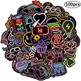 BETOY Adesivi al Neon, 100 Pezzi Adesivi al Neon per Bambini Neon Light Sticker Adesivi Graffiti Decal Vinyl Deco Stickers per Laptop, Valigie,Skateboard,Moto, Snowboard,Decorazione di Festa,4-8cm