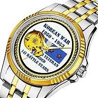 時計、機械式時計 メンズウォッチクラシックスタイルのメカニカルウォッチスケルトンステンレススチールタイムレスデザインメカニ (ゴールド)-021.4 バトルスター朝鮮戦争ベテラン