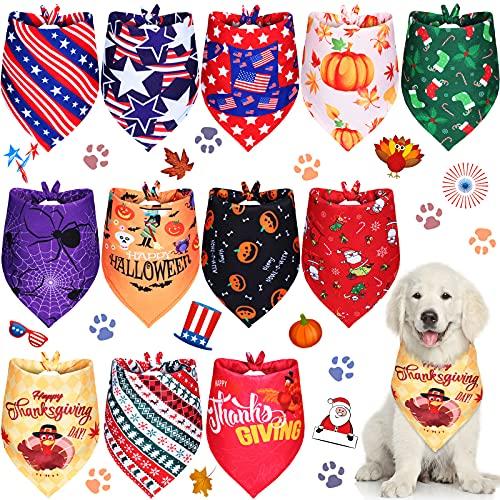 12 Pieces Halloween Dog Bandanas Thanksgiving Dog Bandanas Holidays Christmas Pets Bandana Accessories for Small Medium Size Pets