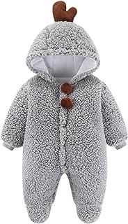 طفل الفتيان الفتيات رومبير الشتاء الوليد الدافئة الصوف أبلى بذلة الزي ملابس الأطفال (Color : Gray, Size : 3-6 Months)