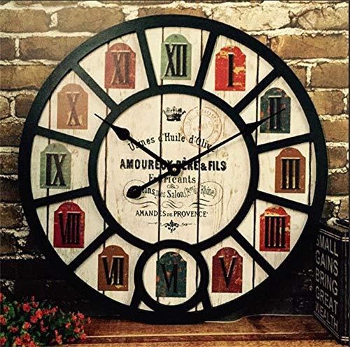 YLCJ Wandklok Tijd Retro Grafiek, nostalgische wind industriële woonkamer restaurant creatieve bar café horloges en horloges decoratieve schuur