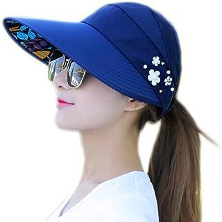 Bullidea Sun Cap Ladies Foldable Beach Hat Wide Brim Plain Visor Hat Summer UV Sun protection Travel Casual