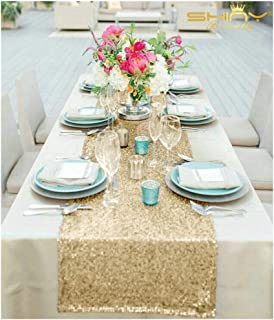 SALE - Sequin-Table Runner-14x108Inch Sequin TableCloth Sequin Table Cloths Valentines Day Table Sequin Linens Christmas Runner Party (Light Gold)
