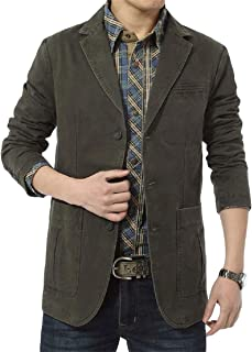 Mens Casual Blazer Slim Fit Suit Jackets Single Breasted Cotton Solid Coat Jacket Two Button Casual Blazer Jacket