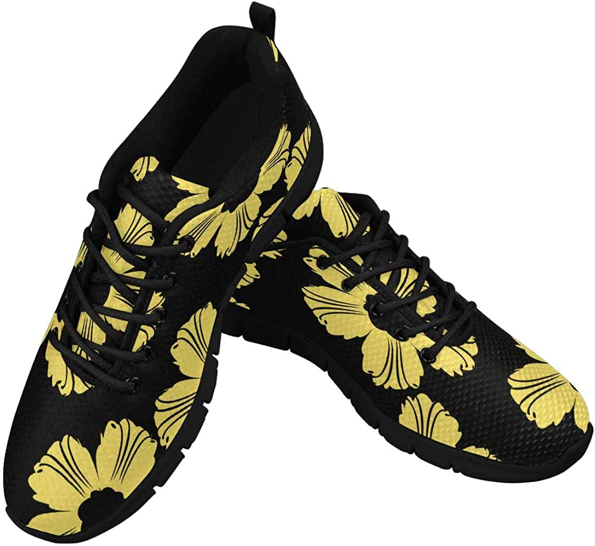 InterestPrint Yellow Flower Pattern Women's Athletic Mesh Breathable Casual Sneakers