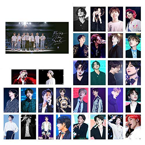 Nuofeng - Kpop Card Paper Photo Photocards Lomo Card Sticker Postcard Set Gift for A.R.M.Y 30pcs(H02)