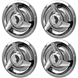 OxGord Tri-Bar Spinners Rally Wheel Center Caps (Pack of 4) Best for GM Classic Car Accessories | Snaps Over 14x6, 14x7, 15x6, 15x7, 15x8 & 15x10 Rim - Stainless Steel Cap is 7' in Diameter, Chrome