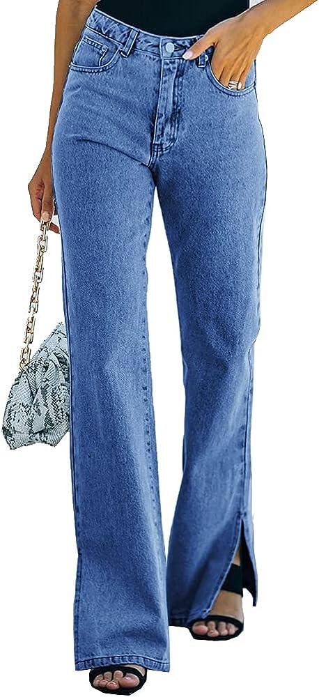 TWFRHC Women High Waist Flare Jeans Casual Distressed Wide Leg Slit Ankle Bell Bottom Denim Pants