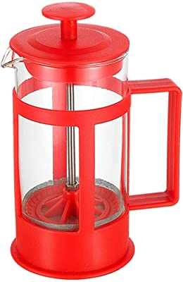 GOODFEER 350ml Coffee Pot French Press Coffee Maker Portable Coffee Brewer for Home and Outdoor Camping (Red)