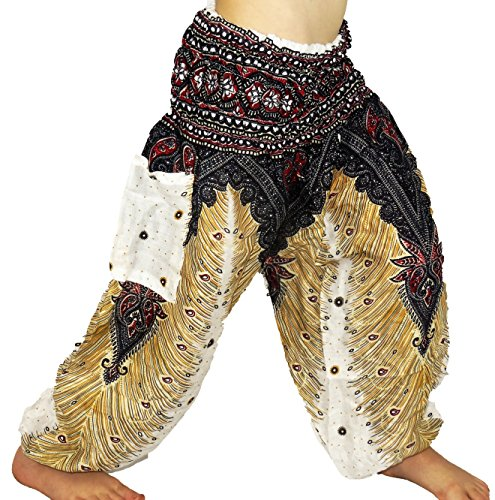 Sarouel - Pantalón para niño de 3 a 4 años, diseño étnico de Harem con pant children aladin, bohemio, niño, blanco y blanco