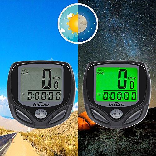 IREGRO Fahrradcomputer Kabellos, Drahtloser Wasserdicht Fahrradtacho, 16 Funktionen Um die Aktuelle Echtzeitgeschwindigkeit und Distanz zu erkennen - 6