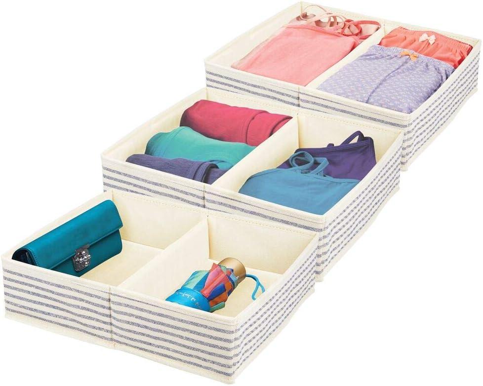 mDesign Juego de 3 cestas organizadoras para armarios – Cajas de Tela con 2 Compartimentos Cada una – Organizador de armarios para Calcetines, Ropa Interior, etc. – Crudo/Azul