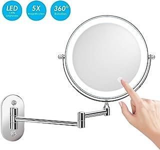 alvorog 8 Pulgadas Espejo de Aumento de Pared, Redondo de Pared Espejo de Baño Giratorio, Espejo de Maquillaje con luz LED 5X, Extensible y con Acabado Cromado, Doble Cara giratoria de 360 °