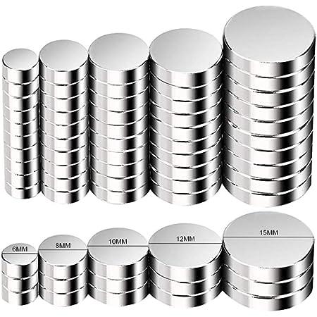 Aimants Néodyme Puissants, FEYG Disc Neo Néodyme Terres Rares Aimants 8x3mm Aimant Frigo Surfaces Magnétiques, Tableau Blanc Interactif,Images, Bricolage (100 Pieces) (5Size-50pc)