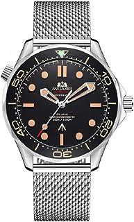 ساعت مچی اتوماتیک مردانه ، ساعت غواصی 30 متری ، کیف فولادی ضد زنگ ، شیشه یاقوت کبود ، باند استیل ضد زنگ ساعت سبک امگا