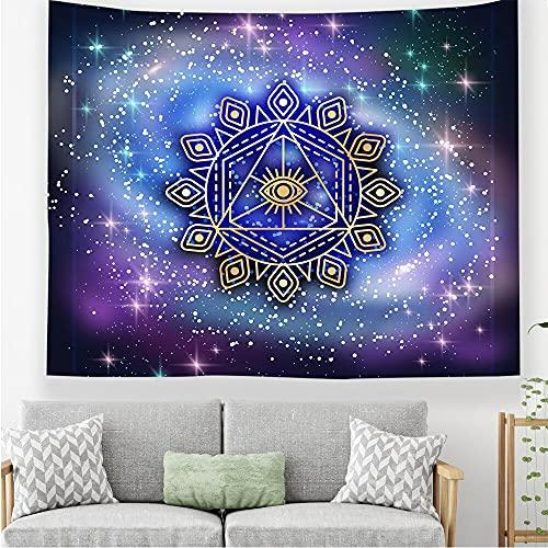 Tapiz de mandala tapiz de cielo azul estrellado montado en la pared tapiz hippie bohemio tapiz de flor de mandala tela colgante A3 100x150cm