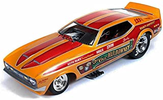 Auto World 1972 Cha - Cha Muldowney Ford Mustang NHRA Funny Car, Orange w/ Red Stripes Legends - 1/18 Scale diecast Model car