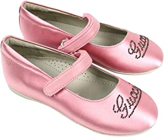 Kids Pink Satin Daisy Ballet Flat with Strass 271301