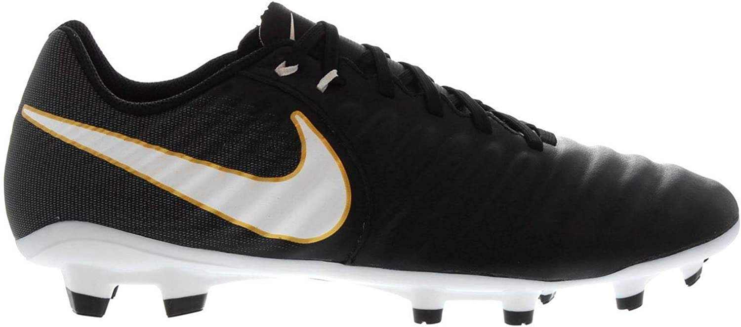 Official Nike Tiempo Ligera FG Firm Ground Football Boots Mens Black Soccer shoes Cleats