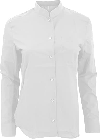 Kariban - Camisa de Manga Larga con Cuello Estilo mandarín para Mujer