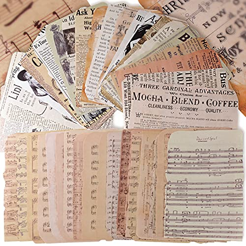 50 Hojas Papel Scrapbooking Vintage Decoración Material Diario Papel Estampado Decorativo Estilo Retro Cartulina DIY Manualidad (A)