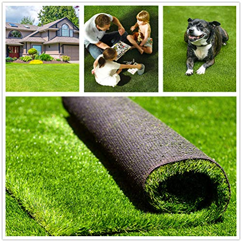 Fas Home Artificial Grass Turf 6FTX8FT(48 Square FT), 1.38' Pile Height Realistic Synthetic Grass, Drainage Holes Indoor Outdoor Pet Faux Grass Astro Rug Carpet for Garden Backyard Patio Balcony
