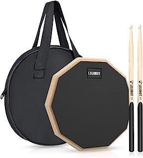 LOLUNUT 12 Inch Silent Drum Pad,Dumb Drum Beginner Rubber Practice Pad,with 5A Drum Sticks & Storage Bag(Black)