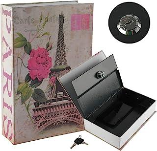 "KYODOLED Book Safe with Key Lock,Dictionary Diversion Secret Safe Box,Money Hidden Lock Box,9.5"" x 6.1"" x 2 .2"" Paris Large"