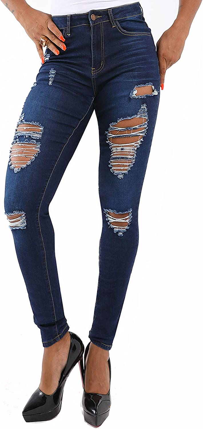 Lexiart Blue Ripped Destroyed Skinny Jeans for Women High Waist Denim Pants with Hole Fall Winter 2020 XL