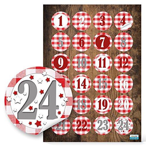 24 Adventskalenderzahlen 1 bis 24 in rot weiß kariert Sticker Aufkleber Adventskalender Zahlen 4 cm zum Weihnachtskalender Basteln Weihnachten zum Papiertüten zukleben