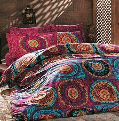 OMASES - Juego de ropa de cama doble de algodón de 200 x 200 cm, diseño de mandala, color cachemira y mandala, místico, nirvana, hippie, gitana, india, africana, étnica, reactiva, yoga, buda oriental, feng Shui