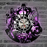 SOKIMI The Avengers Shape Vinyl Record Clock Creative Hollow Marvel Comics LED Reloj...