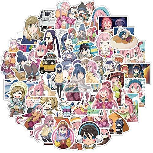 TUHAO Kawaii Swaying Camping Sticker Cartoon Anime Camp Pegatinas Impermeable Calcomanías Pegatinas Campamento para Laptop Skateboard 50pcs