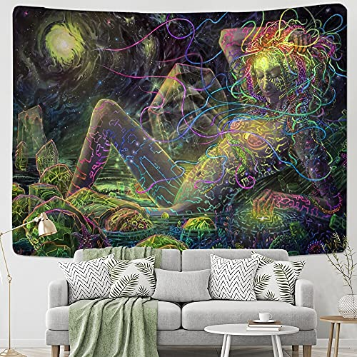KHKJ Tapiz de Hongos de Muerte psicodélico Colgante de Pared Colorido Abstracto Bohemio Hippie brujería Dormitorio decoración del hogar A15 200x150cm